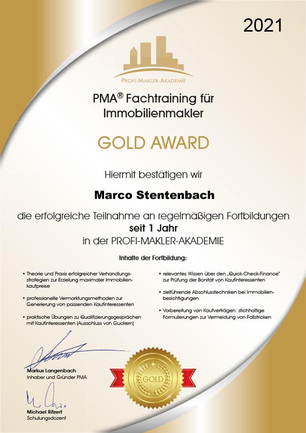 Marco Stentenbach Gold Award